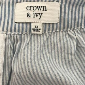 crown & ivy Shorts - Crown And Ivy Pin Stripe Flouncy Shorts